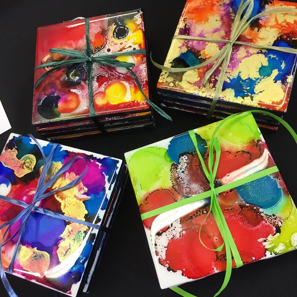 Alcohol Ink Coaster Tiles Workshop @ Main ARTery