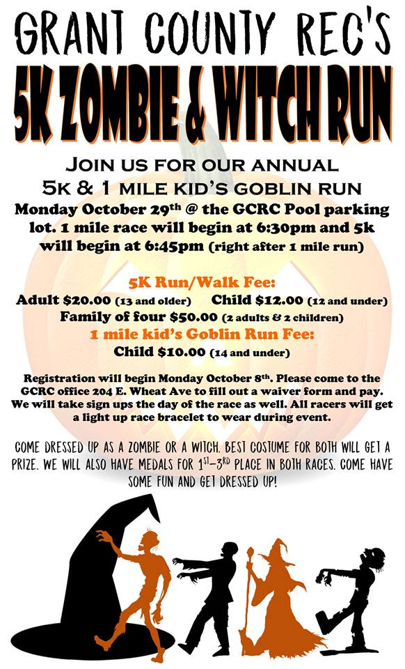 Grant County Recreation Commission's 5K Zombie & Witch Run @ GCRC pool parking lot