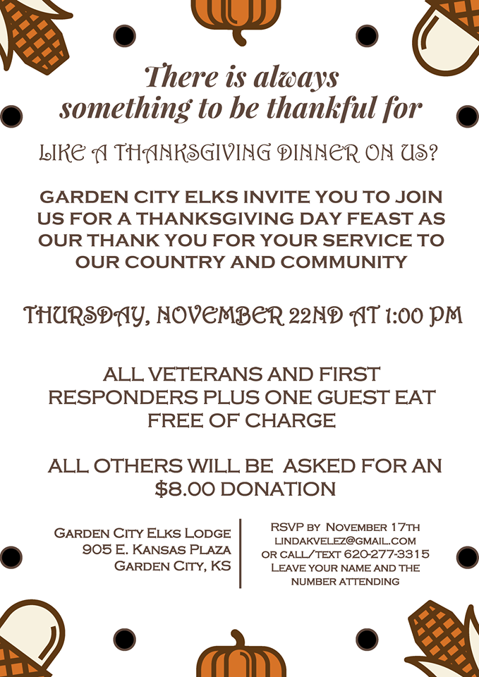 Elks Thanksgiving Dinner @ Garden City Elks Lodge