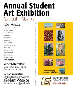 Annual Student Art Exhibition @ Mercer Gallery, GCCC