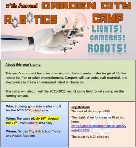 5th Annual Garden City Robotics Camp @ Garden City High School, Trade & Health Academy